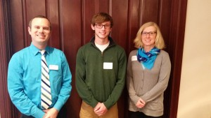 Dr.'s Busby and Feipel with Sam Greathouse, winner of the Westfield Chamber Scholarship.